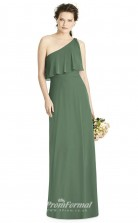 BDUK2178 Sheath Green Chiffon One Shoulder Floor Length Bridesmaid Dress