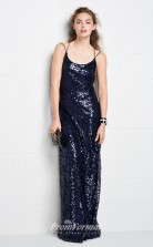 BDUK2179 Sheath Royal Blue Sequined Straps Floor Length Bridesmaid Dress