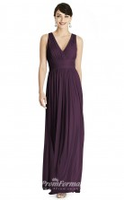 BDUK2184 A Line Grape Chiffon V Neck Ankle Length Bridesmaid Dress