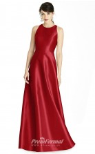 BDUK2186 A Line Light Burgundy Stretch Satin Jewel Long Bridesmaid Dress