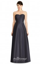 BDUK2188 A Line Dark Navy Satin Sweetheart Long Bridesmaid Dress