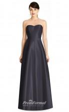 BDUK2188 A Line Dark Navy Satin Sweetheart Long Bridesmaid Dress