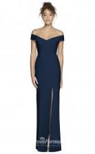 BDUK2194 Mermaid/Trumpet Navy Blue Satin Chiffon Off the Shoulder Short Sleeve Long Bridesmaid Dress