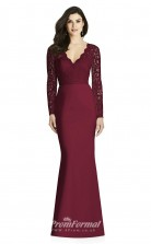 BDUK2196 Mermaid/Trumpet Dark Fuchsia Lace Satin V Neck Long Sleeve Long Bridesmaid Dress