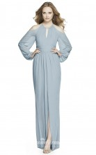 BDUK2199 A Line Sky Blue Chiffon Halter Long Sleeve Long Bridesmaid Dress