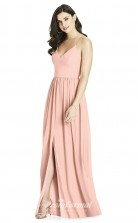 BDUK2200 A Line Pink Chiffon Straps V Neck Long Bridesmaid Dress