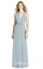 BDUK2202 A Line Sky Blue Chiffon V Neck Long Bridesmaid Dress