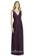 BDUK2205 A Line Purple Chiffon V Neck Long Bridesmaid Dress