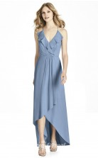 BDUK2206 A Line Dodger Blue Chiffon Straps V Neck High Low Bridesmaid Dress