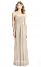 BDUK2208 A Line Gray Chiffon Sweetheart Long Bridesmaid Dress