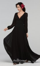 BDUK2213 A Line Black Chiffon V Neck Long Sleeve Long Bridesmaid Dress