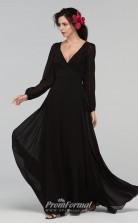 BDUK2213 A Line Black Chiffon V Neck Long Sleeve Long Bridesmaid Dress