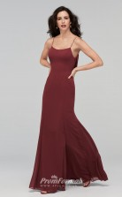 BDUK2214 Mermaid/Trumpet Dark Burgundy Chiffon Straps Long Bridesmaid Dress