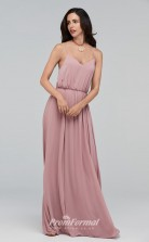 BDUK2215 A Line Pink Chiffon Straps Long Bridesmaid Dress
