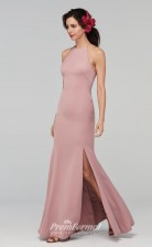 BDUK2218 Mermaid/Trumpet Nude Pink Satin Chiffon Halter Ankle Length Bridesmaid Dress