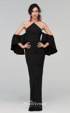 BDUK2219 Sheath Black Satin Chiffon Halter Off the Shoulder Short Sleeve Long Bridesmaid Dress