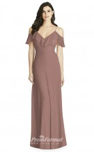 BDUK2220 A Line Lotus Chiffon Off the Shoulder Straps Short Sleeve Long Bridesmaid Dress
