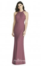 BDUK2222 Mermaid/Trumpet Purple Chiffon Halter Long Bridesmaid Dress