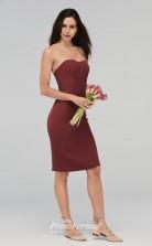 BDUK2225 Sheath Burgundy Satin Chiffon Strapless Knee Length Bridesmaid Dress