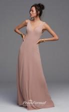 BDUK2227 A Line Nude Chiffon V Neck Floor Length Bridesmaid Dress