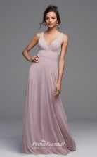 BDUK2228 A Line Gray Chiffon V Neck Floor Length Bridesmaid Dress