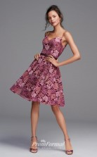 BDUK2230 A Line Lotus Lace Straps Knee Length Bridesmaid Dress