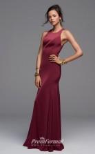 BDUK2234 Mermaid/Trumpet Dark Burgundy Satin Chiffon Jewel Floor Length Bridesmaid Dress