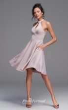 BDUK2235 A Line Gray Satin Chiffon Halter Knee Length Bridesmaid Dress