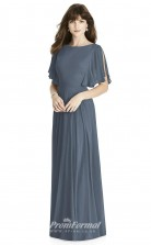 BDUK2241 A Line Steel Blue Chiffon Bateau Short Sleeve Floor Length Bridesmaid Dress