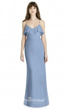 BDUK2243 Mermaid/Trumpet Light Blue Chiffon Straps V Neck Floor Length Bridesmaid Dress
