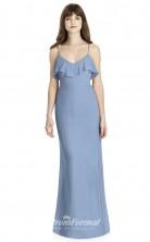 BDUK2243 Mermaid/Trumpet Light Blue Chiffon Straps V Neck Floor Length Bridesmaid Dress