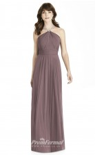 BDUK2245 A Line  Chiffon Halter Floor Length Bridesmaid Dress