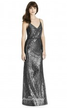 BDUK2247 Sheath Dark Gray Sequined Straps V Neck Floor Length Bridesmaid Dress