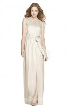 BDUK2248 A Line Beige Chiffon Scoop Floor Length Bridesmaid Dress