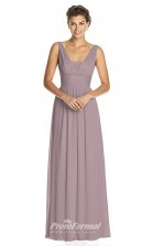 BDUK2249 A Line Purple Chiffon V Neck Floor Length Bridesmaid Dress