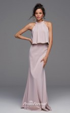 BDUK2251 Sheath Gray Chiffon Halter Long Bridesmaid Dress