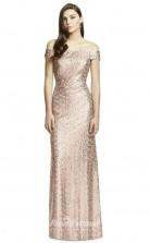 BDUK2252 Mermaid/Trumpet Champange Sequined Off the Shoulder Short Sleeve Long Bridesmaid Dress