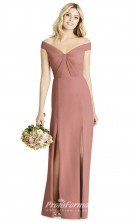 BDUK2256 Sheath Rosy Brown Satin Chiffon Off the Shoulder Short Sleeve Long Bridesmaid Dress