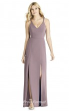 BDUK2257 Sheath Purple Satin Chiffon V Neck Long Bridesmaid Dress