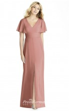 BDUK2258 Sheath Nude Satin Chiffon V Neck Short Sleeve Long Bridesmaid Dress