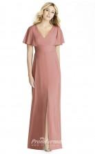 BDUK2258 Sheath Nude Satin Chiffon V Neck Short Sleeve Long Bridesmaid Dress