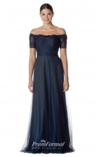 BDUK2262 A Line Navy Blue Lace Tulle Off the Shoulder Long Bridesmaid Dress