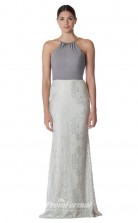 BDUK2265 Mermaid/Trumpet Ivory Lace Chiffon Halter Long Bridesmaid Dress