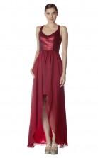 BDUK2266 A Line Burgundy Sequined Chiffon V Neck Long Bridesmaid Dress