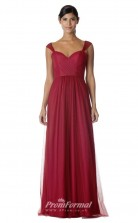 BDUK2267 A Line Burgundy Tulle Sweetheart Long Bridesmaid Dress