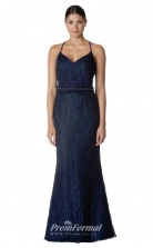 BDUK2268 Mermaid/Trumpet Navy Blue Lace Halter V Neck Long Bridesmaid Dress