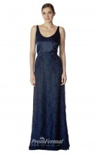BDUK2270 A Line Navy Blue Charmeuse Lace Square Long Bridesmaid Dress