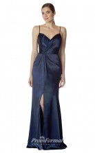BDUK2272 Mermaid/Trumpet Navy Blue Charmeuse Straps V Neck Long Bridesmaid Dress