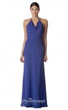 BDUK2276 A Line Blue Chiffon Cowl Halter Long Bridesmaid Dress