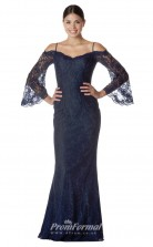 BDUK2277 Mermaid/Trumpet Navy Blue Lace Off the Shoulder 3/4 Length Sleeve Long Bridesmaid Dress